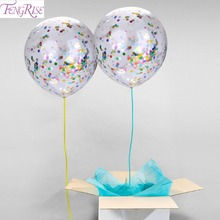FENGRISE 5pcs Inflatable Confetti Balloon Ball Baby Shower 12inch Latex Clear Ballon Birthday Party Decoration Kids Party Favors