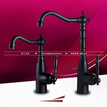 United States style black kitchen rotating hot and cold water faucet antique table basin sink basin full copper faucet(China)