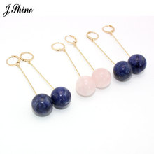 JShine Brand Vintage Blue Pink Stone Earrings for Women Long Simple Gold Color Alloy Hanging Drop Earring Brincos Jewelry cc(China)