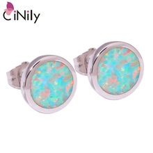 CiNily Created Green Fire Opal Silver Plated Wholesale Distinctive For Fashion Women Jewelry Stud Earrings 9mm OH3755(China)