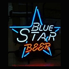 NEW BLUE STAR BEER Neon Bulbs Elephant Neon Sign Real Glass Tube Handcrafted Advertising Neon Lamp Bulb Indoor Motel Sign 17x14(China)