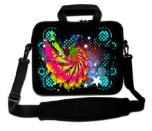"10""13""14""15""17"" Colorful Peacock Pattern Neoprene Laptop Handle Carring Sling Bag Computer Messenger Shoulder Pouch For Intel"