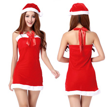 Lady Women Christmas Red Santa Claus Velvet Costume Outfit Fancy Xmas Dress