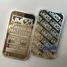 5PCS/Lot 1 OZ brass plated silver bullion bar Johnson Matthey Non magnetic Bar coin Souvenirs Free shipping