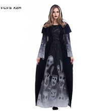 New Long Skeleton printing Vampire cloth Female Witch Cosplay Woman Halloween Costumes Carnival Masquerade Nightclub Party dress
