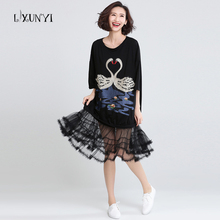 Embroidery Swans Big Size Women Dresses Splicing Mesh 2017 Batwing Sleeve Dress Summer Black Fashion vestidos longo ukraine