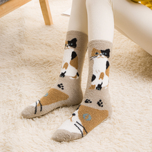 Buy Japanese New Cute Animal Socks Girls Women Coral Fleece Thick Warm Socks Kawaii Funny Bulldog Panda Cat Sox Home Bed Floor Socks for $5.64 in AliExpress store