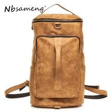 520bfebaa4 NBSAMENG 2018 Fashion Genuine Leather Backpack Male Travel Backpack  Multifunctional Men Laptop Backpack Business Bolsa Masculina