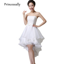 High Low Wedding Dresses Puffy Mid Calf Luxury Lace White Lace Up Vestido De Festa Short Front Long Back Wedding Party Dress