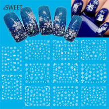 1Sheet White Snowflake Nail Art Water Transfer Stickers Christmas Style HOT Watermark Nail Tips Decor Manicure Decals LAD260-270