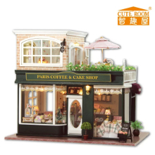 Paris coffee&cake shop France style DIY Wood Doll house 3D Miniature Lights+Music box+Furnitures Building model Home&Store deco