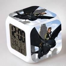 How To Train Your Dragon Juguetes Night Fury Toothless Anime Figure ALarm Clock LED Color Touch light Children Brinquedos Toys