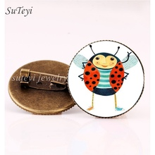 SUTEYI New Fashion Beetle Animal Crystal Brooch Pins Charms Insect Ladybug Series 25mm Glass Dome Brooches DIY Pattern Jewelry(China)