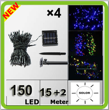 Wholesale solar power 150LED christmas light colorful Navidad lampara LED string 17 meters waterproof IP67 blue white yellow RGB(China)