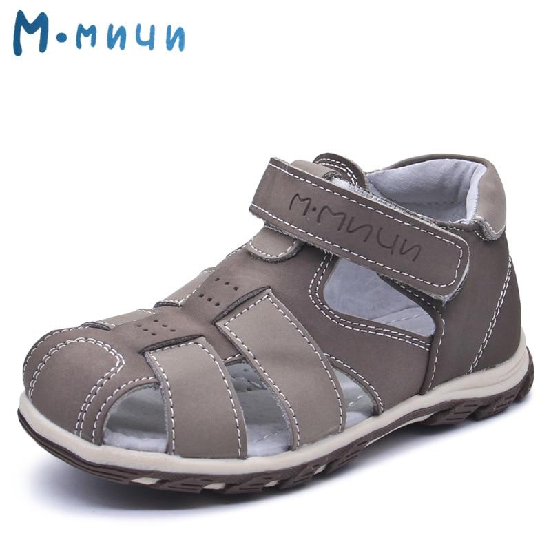 Mmnun Summer Kids Sandals Boys Brand Children Boys Sandals Toe Cap Genuine Leather Kids Sandals for Little Big Boys Size 26-31<br>