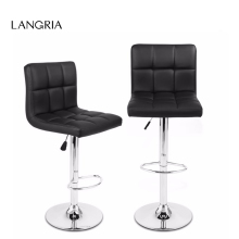 2pcs LANGRIA Gas Lift Height Adjustable Swivel Quilted Faux Leather Bar Stools Chairs with Chromed Base and Footrest for Bar
