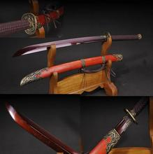 High Quality Blood Red Blade Folded Damascus Steel Chinese Saber Sharp Sword Battle Ready Knife