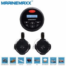 "4"" Waterproof Marine Gauge Radio FM AM Audio Bluetooth Stereo Motorcycle Boat UTV+ 6.5"" 1Pairs Tower Speakers Totaling 500 Watts"