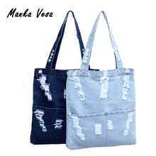 Women Canvas Bag Denim Tote Ladies Large Capacity Brief Handbags Female Shopping Book Teacher Nurse Organizer Shoulder Bag(China)