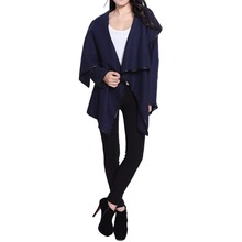 Fashion Women Winter Coat and Jacket Female Stylish Long Sleeves Solid Color Asymmetric Wool Coat Navy Long Coats for Ladies(China)