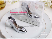 50pcs Cinderella Shoe High Heel Shoe Bottlecap Beer Bottle Can Opener Fun Openers Collectible Shower Wedding Gift party Silver