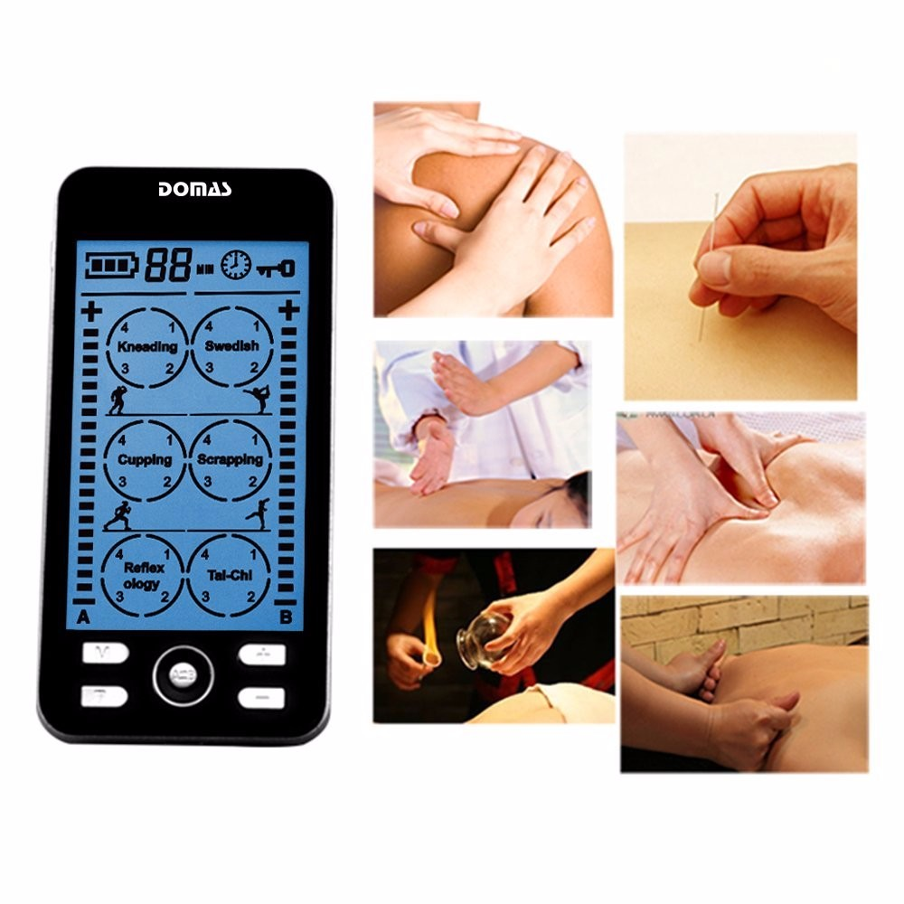 DOMAS 2 channel TENS Unit Electronic Pulse Massager 24 mode ElectroTherapy device pulse massager<br>