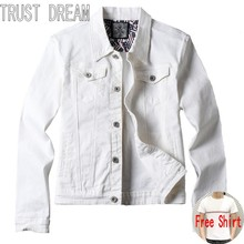 TRUST DREAM Men Fashion White Leisure Slim Denim Jacket Long-sleeve Cotton Casual Man Jeans Jackets Plus Size(China)