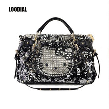 Loodial brand handbag hello kitty women shoulder bag cat female large sequins tote bags high quality PU leather ladies crossbody(China)
