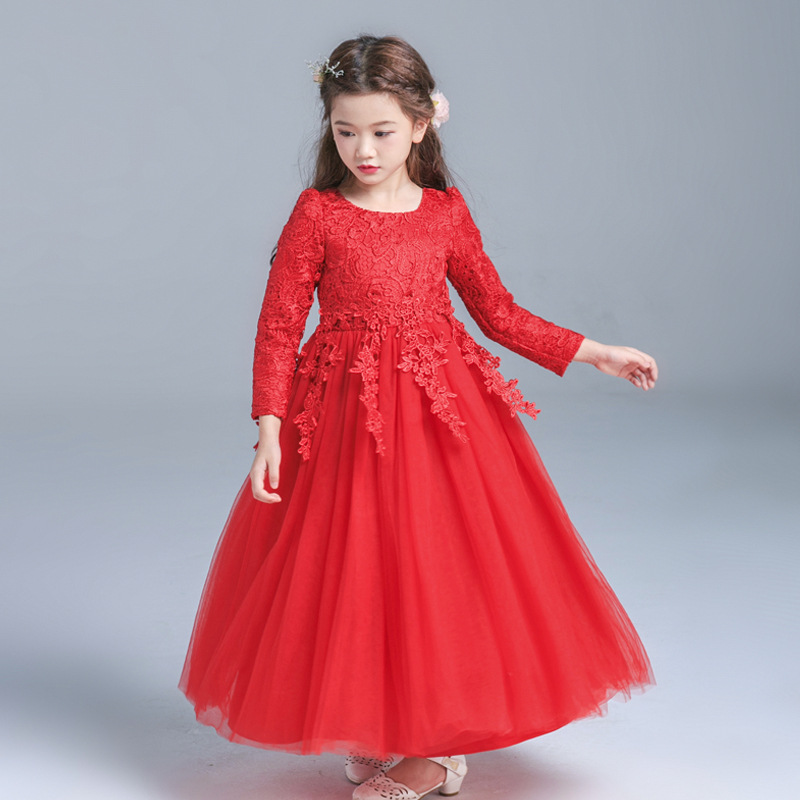 Formal-Wedding-Party-Baby-Girls-Dresses-2018New-Kids-Clothes-Solid-Brief-Cute-Lace-Princess-Ball-Gown