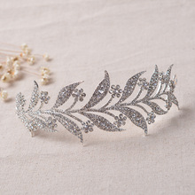 new crystal leaf alloy delicate tiara for bride headdress crown wedding hair jewelry wholesale(China)