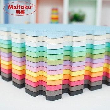 Meitoku bebé juego de puzzle de espuma eva mat/9 unids/lote ejercicio de enclavamiento azulejos alfombra del piso para el cabrito, cada 30 cm x 30 cm