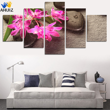 2017 Fashion free shipping red orchid stone background picture canvas painter houses home decoration art wall no framed FA177(China)
