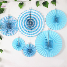 6pcs Blue Stripe&Dot Paper Fans For Wedding Tissue Paper Fans Flowers Birthday Party Holiday Supplies Wedding Favors Decorations