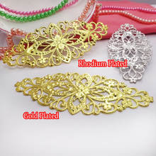 Copper 50pcs/pack Gold Plated/Rhodium Plated 80*35mm Flower Spacer Jewelry Parts for DIY
