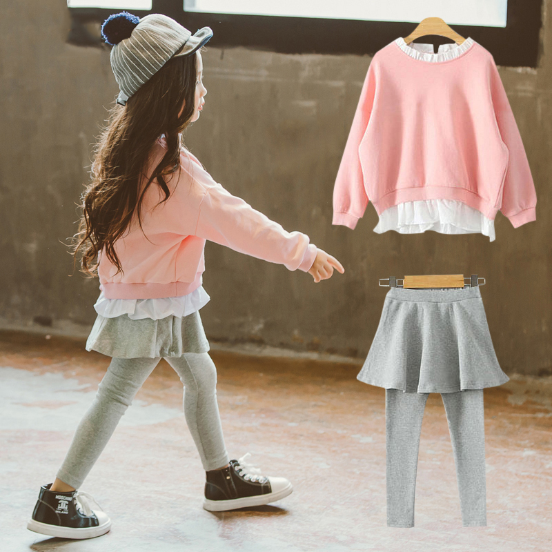 Autumn Girls Fashion Outfit Pink Sports Outfit Kids Grey Bottom Korean Style for Children at Age 56789 10 11 12 13 14Years Old<br>