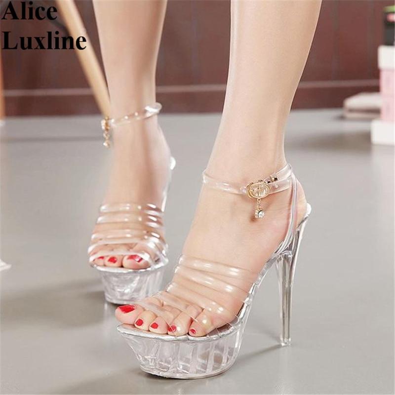 2017 New 14cm Women High Heel Transparent Shoes Platform Pumps Open Toe Heels Party Shoes Wedding High Heel Shoes Eu size 35-43<br>