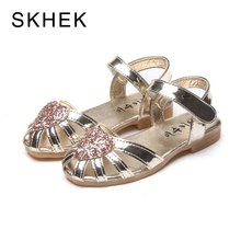 Buy SKHEK Children Princess Glitter Sandals Kids Girls Soft Shoes Square Low-heeled Dress Party Shoes Pink Silver Gold Champagne for $8.04 in AliExpress store