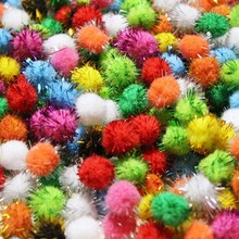 50Pcs Soft Pompom Balls Glitter Pom Poms Early Learning Creative Christmas Home Decoration Handmade Craft Scrapbooking Doll DIY(China)