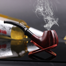 Mahogany wood pipe tobacco exclusive handmade round curved pipe retro man smoking pipe filter Portable(China)