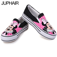 JUP Cartoon Adult Hand Painted Canvas Flats Shoes Fashion Shoes Within The Higher for Women Males Girls Low Animation Footwear