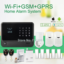 APP Remote Control WIFI + GSM GPRS SMS OLED Home Office Security Alarm System+Pet Friendly Motion Sensors+Wireless Gas Sensor