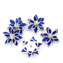 Fashion Jewelry 10PCs Lotus Flower Cabochon Flatback Embellishment Findings Rhinestone Scrapbooking Silver Plated For DIY Craft(China)