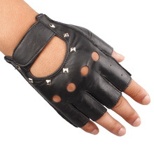 2016 dancing vouge men summer  hole backless New Fingerless Rivet Punk Motorcycle Driving Leather Cowhide Velcro Mittens Gloves
