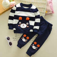 Baby Boy Clothes Spring Autumn Cartoon long sleeve t-shirt + casual long pants 2pc suits kids girls clothing Set Sport Tracksuit(China)