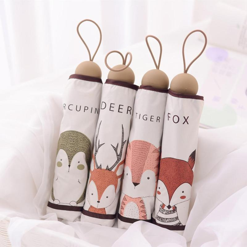 Cute Creativity Animal Pattern Umbrella Three Folding Rain Umbrella Women Sunscreen Anti UV Umbrellas Lovely Tiger Fox Deer L50(China)