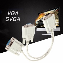 Newest 1 Male VGA to 2 Female VGA Splitter Cable 2 Way VGA SVGA Monitor Dual Video Graphic LCD TFT Y Splitter Cable Lead