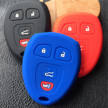 Silicone rubber car key cover case For GMC Yukon Buick Enclave Saturn Chevy Tahoe Traverse Suburban 4button key case cover