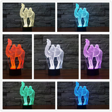 New 2017 Cartoon Camel 3D Illusion LED Lamp Night Light 7 Colors Dimming Table Decor Christmas For Children Kids Bedroom Holiday