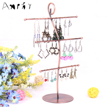 Wrought Iron Jewelry Display Shelf Earrings Necklace Holder Stud Earring Accessories Storage Rack Jewelry Necklace Display A152(China)