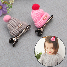 New Diamond Children's Cute Headwear Wool Hat Hair Clips Cap Screws Hair Clips